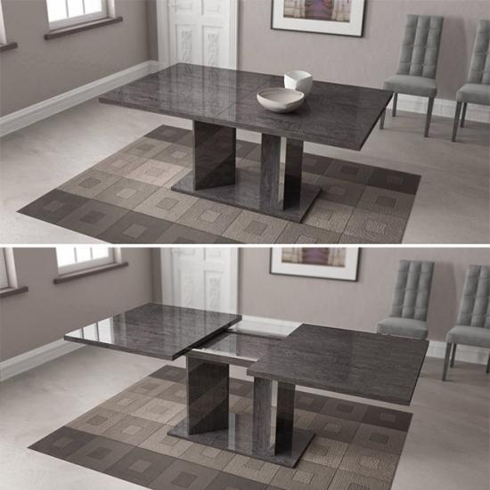 Sarah modern szürke magasfényű étkezőasztal